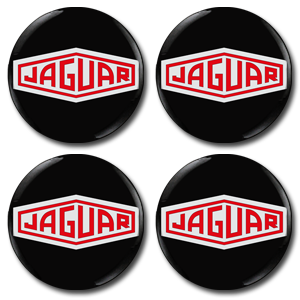 JAGUAR RED LOGO Wheel Centres