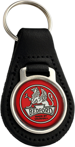 BEDFORD Round Leather Keyfob - Red
