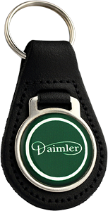 DAIMLER Round Leather Keyfob - Green Design