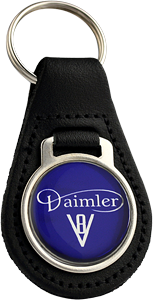 DAIMLER Round Leather Keyfob - V8 Design