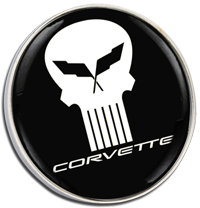 CORVETTE PUNISHER Clutch Pin Badge