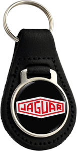 JAGUAR Round Leather Keyfob - RED