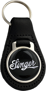 SINGER Round Leather Keyfob