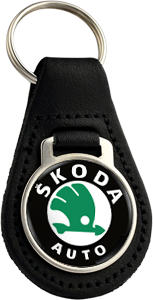 SKODA AUTO Round Leather Keyfob