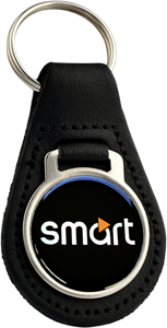 SMART CAR TEXT Round Leather Keyfob