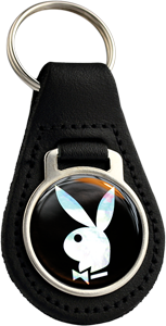 PLAYBOY Round Leather Keyfob