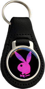 PLAYBOY PINK Round Leather Keyfob