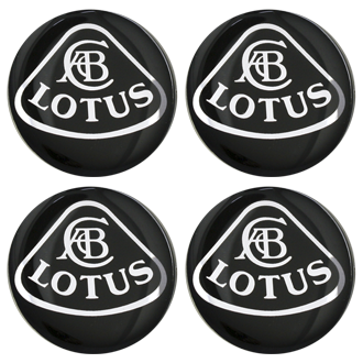 LOTUS BLACK LOGO Wheel Centres