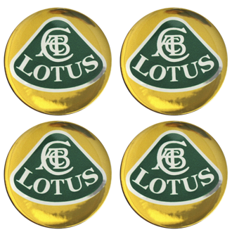 LOTUS YELLOW LOGO Wheel Centres