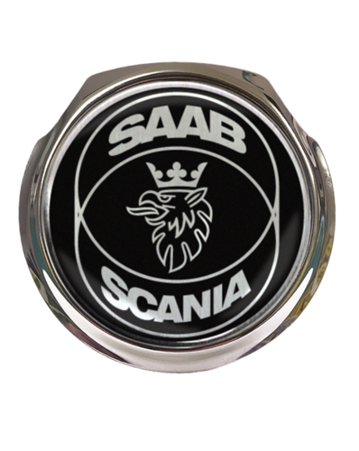 SAAB Scania Black Car Grille Badge With Fixings